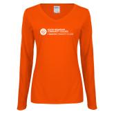Comm College Ladies Orange Long Sleeve V Neck Tee-Primary Mark