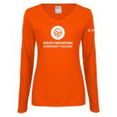 Comm College Ladies Orange Long Sleeve V Neck Tee-Stacked
