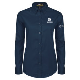Comm College Ladies Navy Twill Button Down Long Sleeve-Stacked