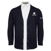 Comm College Navy V Neck Cardigan w/Pockets-Stacked