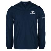 Comm College V Neck Navy Raglan Windshirt-Stacked