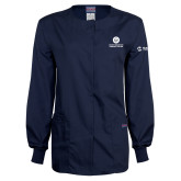 Ladies Navy Snap Front Warm Up Scrub Jacket-Stacked