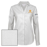 Comm College Ladies Red House Diamond Dobby White Long Sleeve Shirt-Stacked