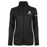 Black Heather Ladies Fleece Jacket-Stacked