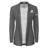 Ladies Heather Grey Open Front Cardigan-Stacked