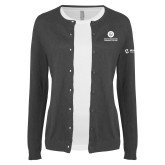 Ladies Charcoal Cardigan-Stacked