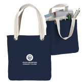 Allie Navy Canvas Tote-Stacked