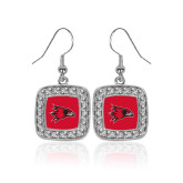 Bookstore Crystal Studded Square Pendant Silver Dangle Earrings-Hawk Head