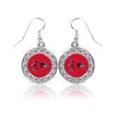 Bookstore Crystal Studded Round Pendant Silver Dangle Earrings-Hawk Head
