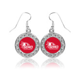 Bookstore Crystal Studded Round Pendant Silver Dangle Earrings-SEMO Logo with Redhawks