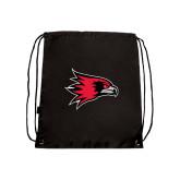 Black Drawstring Backpack-Redhawk Head