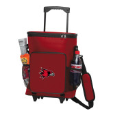 Bookstore 30 Can Red Rolling Cooler Bag-Hawk Head