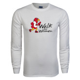 White Long Sleeve T Shirt-Walk For Redhawks