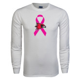 White Long Sleeve T Shirt-Breast Cancer Awareness