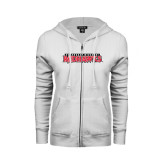 ENZA Ladies White Fleece Full Zip Hoodie-Southeast Missouri Redhawks