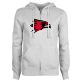 Bookstore ENZA Ladies White Fleece Full Zip Hoodie-Hawk Head