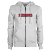 Bookstore ENZA Ladies White Fleece Full Zip Hoodie-Southeast Missouri Redhawks