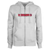 Bookstore ENZA Ladies White Fleece Full Zip Hoodie-Redhawks