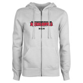 Bookstore ENZA Ladies White Fleece Full Zip Hoodie-Mom
