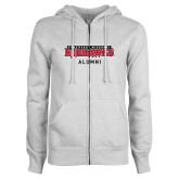 Bookstore ENZA Ladies White Fleece Full Zip Hoodie-Alumni