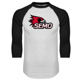 Bookstore White/Black Raglan Baseball T Shirt-SEMO Logo