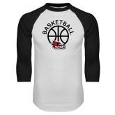 Bookstore White/Black Raglan Baseball T Shirt-Basketball with Ball