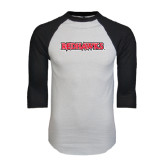 White/Black Raglan Baseball T-Shirt-Redhawks