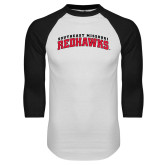 White/Black Raglan Baseball T-Shirt-Arched Southeast Missouri Redhawks