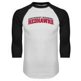White/Black Raglan Baseball T-Shirt-Arched Southeast Missouri Redhawks