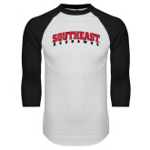 White/Black Raglan Baseball T-Shirt-Southeast Redhawks