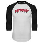 White/Black Raglan Baseball T-Shirt-Southeast Redhawks