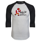White/Black Raglan Baseball T-Shirt-Walk For Redhawks