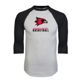 White/Black Raglan Baseball T-Shirt-Basketball