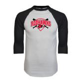 White/Black Raglan Baseball T-Shirt-Softball Design w/ Bats and Plate