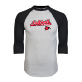 White/Black Raglan Baseball T-Shirt-Softball Script on Bat