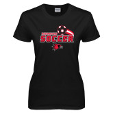 Ladies Black T Shirt-Soccer Swoosh