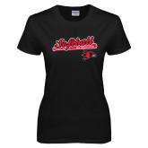 Ladies Black T Shirt-Softball Script on Bat