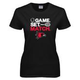 Ladies Black T Shirt-Tennis Game Set Match