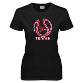 Ladies Black T Shirt-Tennis Ball