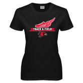 Ladies Black T Shirt-Track and Field Side Design
