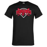 Black T Shirt-Softball Design w/ Bats and Plate