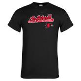 Black T Shirt-Softball Script on Bat