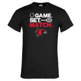 Black T Shirt-Tennis Game Set Match