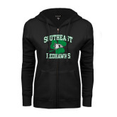 Bookstore ENZA Ladies Black Fleece Full Zip Hoodie-Southeast Redhawks Shamrock