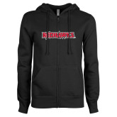 Bookstore ENZA Ladies Black Fleece Full Zip Hoodie-Redhawks