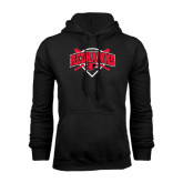 Black Fleece Hoodie-Softball Design w/ Bats and Plate