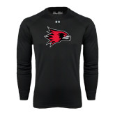 State Under Armour Black Long Sleeve Tech Tee-Redhawk Head