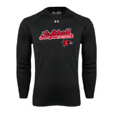 Under Armour Black Long Sleeve Tech Tee-Softball Script on Bat