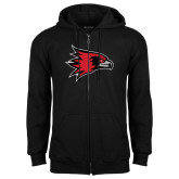 Black Fleece Full Zip Hoodie-Redhawk Head