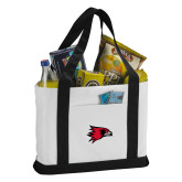 Bookstore Contender White/Black Canvas Tote-Hawk Head